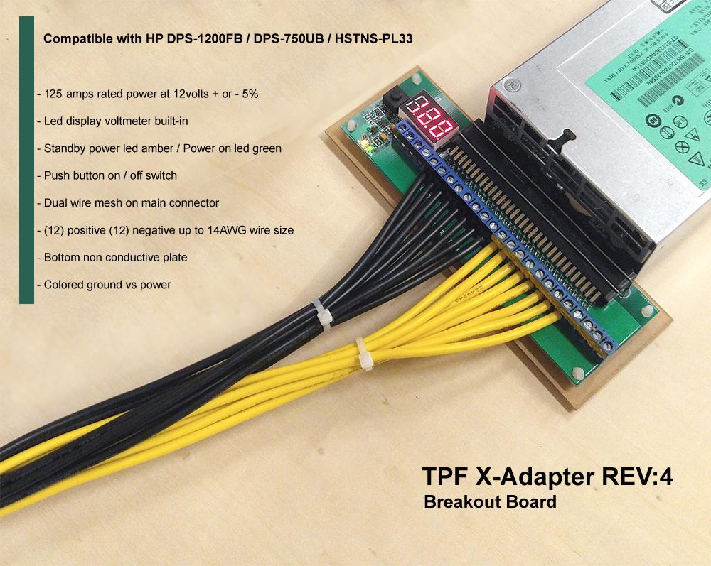 Breakout Board Adapter compatible with HP 1200 watt DPS-1200FB ...