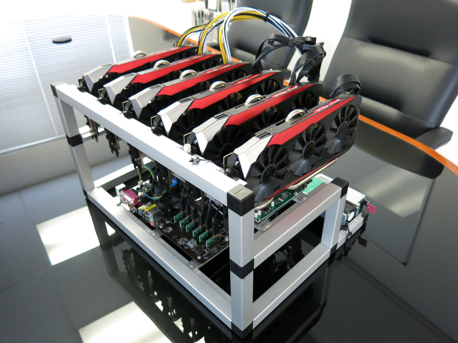 All Aluminium 6 1 Gpu Open Air Mining Case W 6 Usb Risers