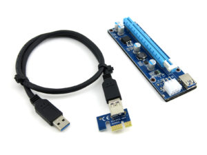 Riser kit for graphic card mining comprised of the 16X adapter, 24 inch 3.0 USB cable, and the riser board