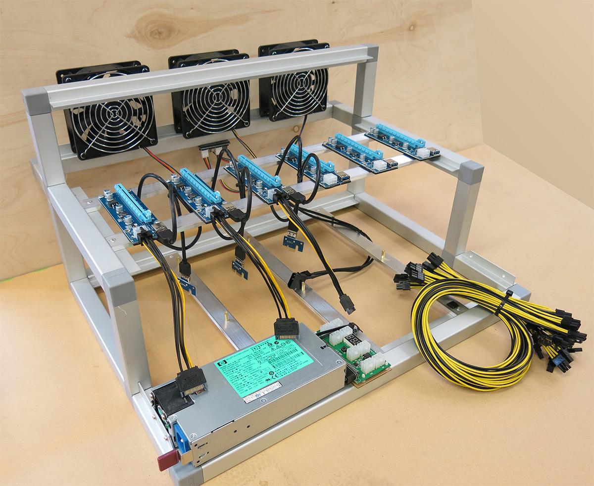 Rev2 Cooled All Aluminium 6 1 Gpu Open Air Mining Case W