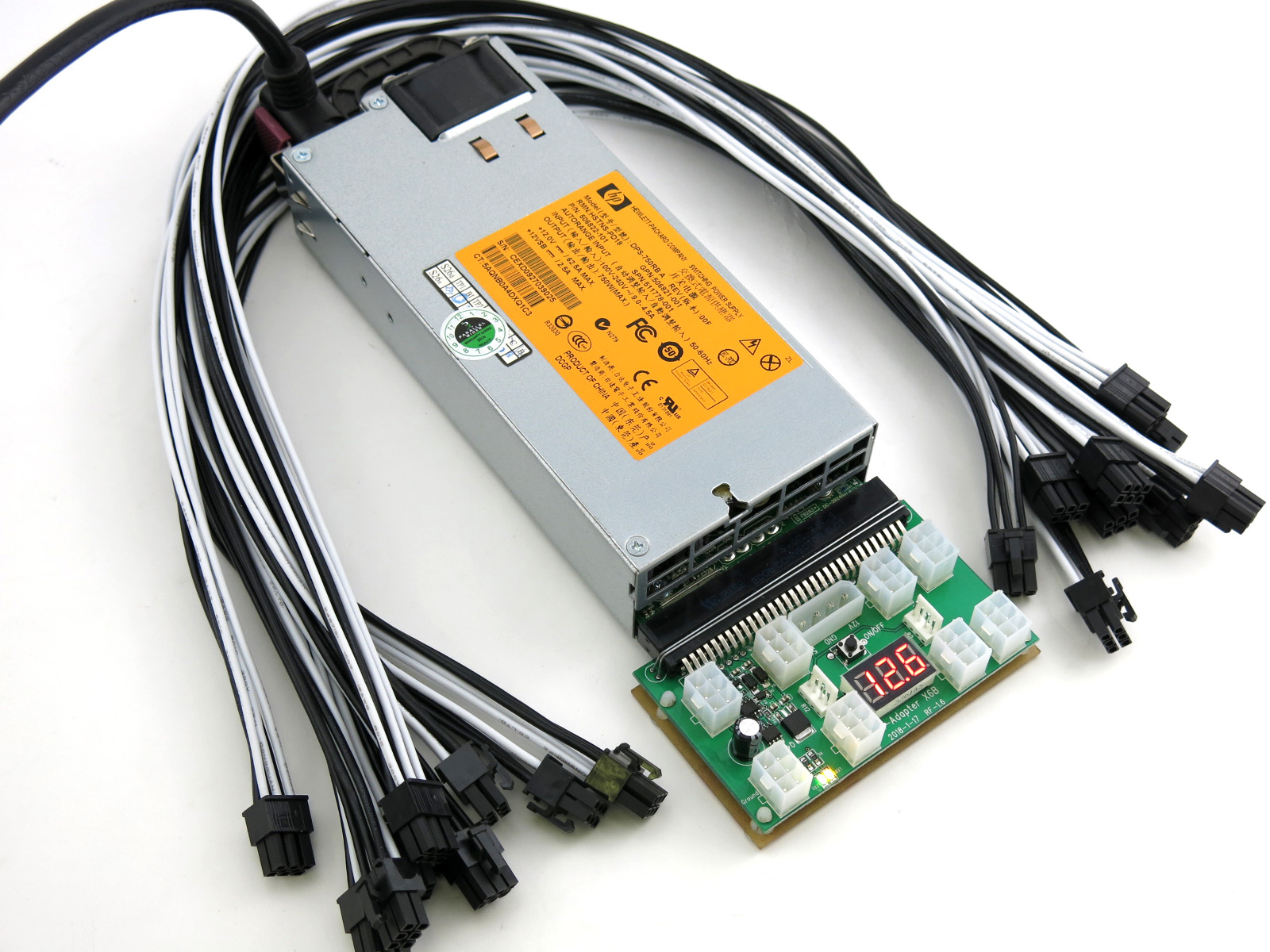750 Watt Server Power Supply for ASIC CryptoCurrency Miner 80+ Gold ...