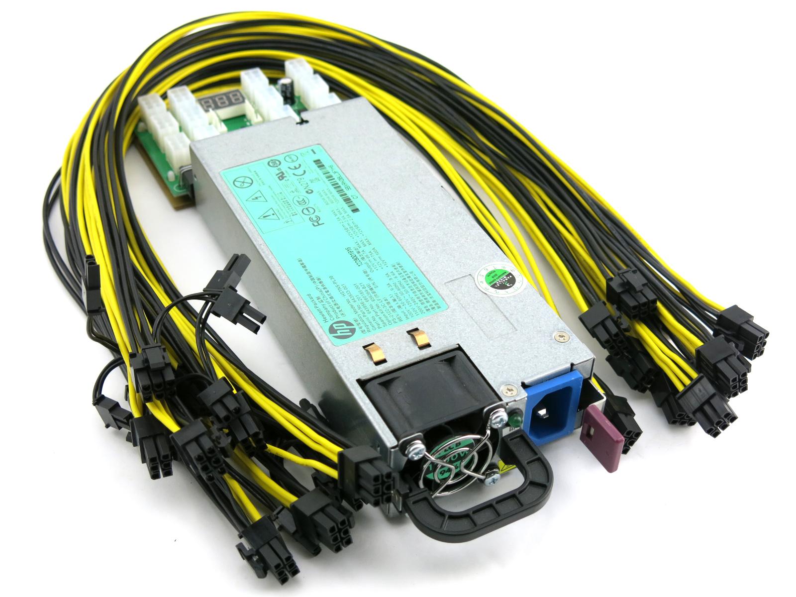 REV2 All 6pin+2 Cable - GPU Mining Power Supply Kit: HP 1200 watt Platinum  94% ETH,DASH,XMR,ZEC,GPU