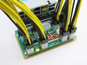 An X6B breakout board with 8 PCIe cables drawing power from a server power supply unit
