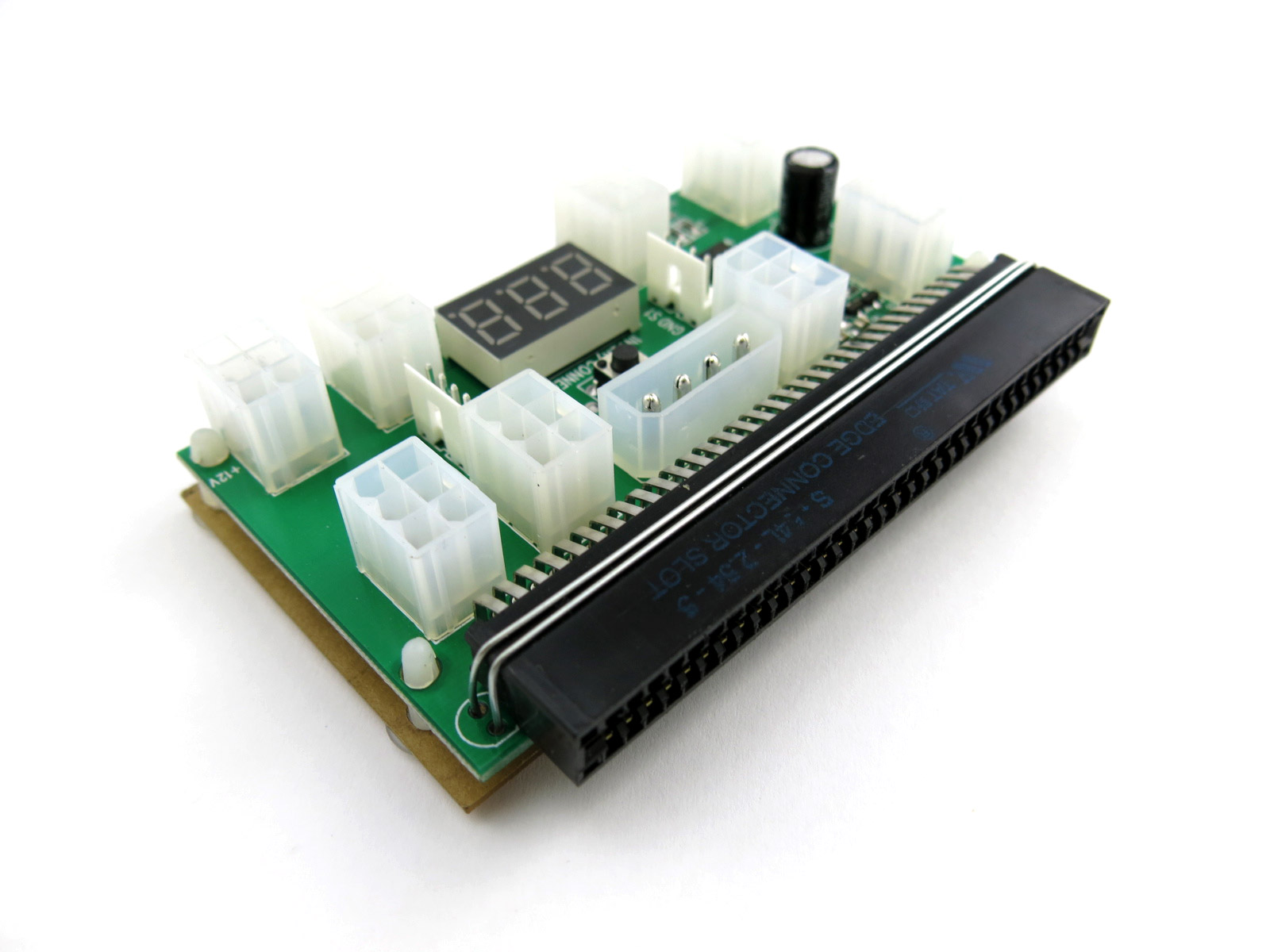 Mine bitcoin with the X6B Breakout board featuring (8) PCIe ports, LED voltage meter, on/off power button, molex port, and (2) 4 pin ports