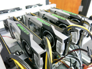 Graphic processing units powered by our power supply kit for GPU mining