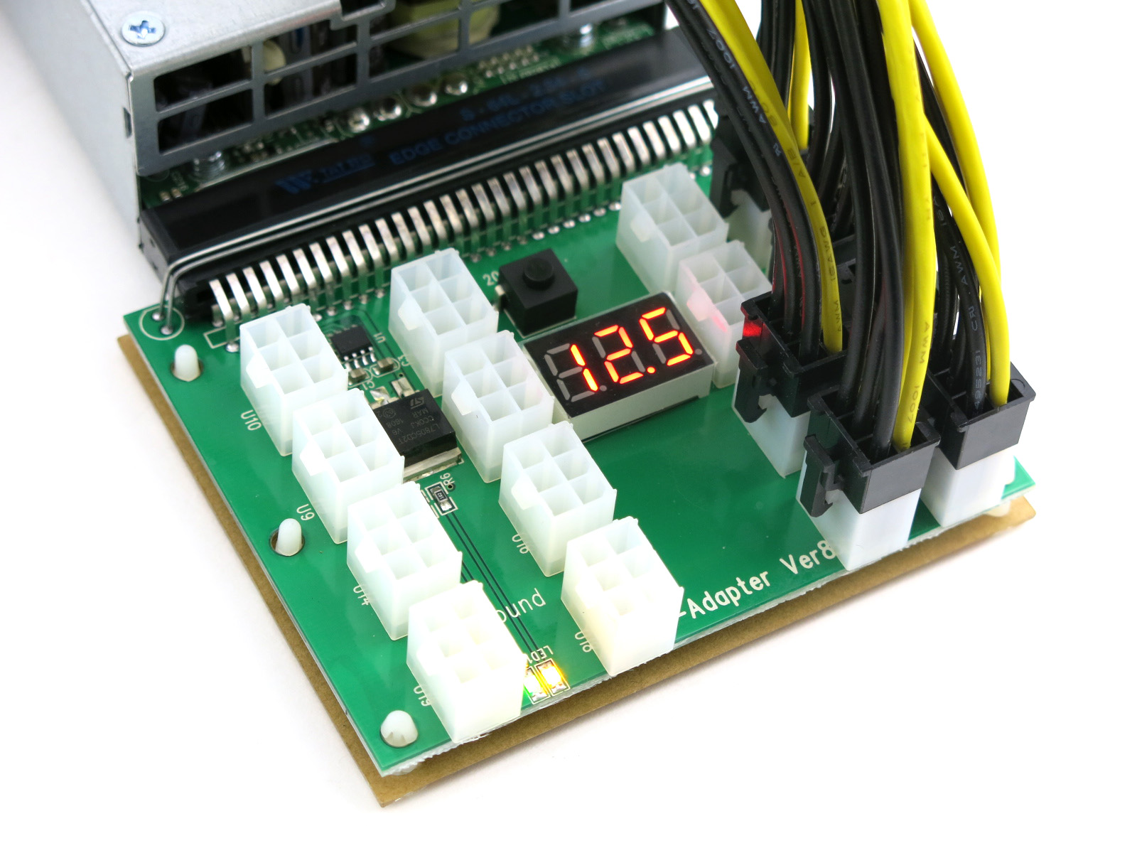 X8 16 Port 6 Pin PCIE HP Delta Dell Open Air GPU Mining Benchtop Power  Supply Breakout Board w/ 6 PCIE Cables