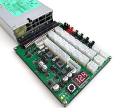 This game changing GPU mining all in one power supply breakout board features 16 PCIe ports, a built-in voltmeter, an ATX 24 pin for the motherboard, 10 fan hubs, and more.